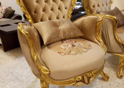 كرسي صالون مدهب ورق ذهب